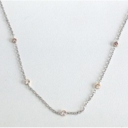 Pink and White Diamond Bezzel Necklace set in 14 KW and tube set in pink gold
