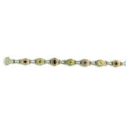 A Multi Color Diamond Braclet with 8 stones