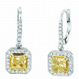A 2=2.00ct Radiant Fancy Brownish Yellow Diamond Earrings.