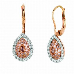 A 2=0.11cts Pear Shape Pink Diamond Earrings Set