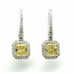 A 2=2.09cts Radiant Fancy Yellow Diamond (GIA) Earrings set
