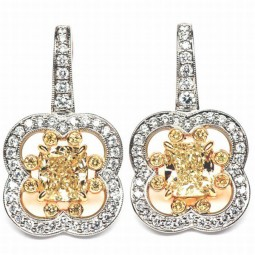(2)=2.79ct Radiant Yellow Diamonds Earrings