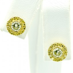 (2) Round Fancy Yellow DIamonds