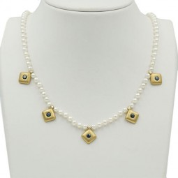 One of a Kind Pearl and Sapphire Necklace