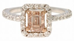 A 1.00ct. Emerald Cut Light Brown Diamond Pave Ring