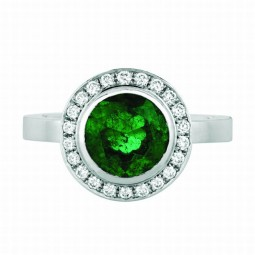 1.88 Round Emerald Ring set with 0.47 White Diamonds.