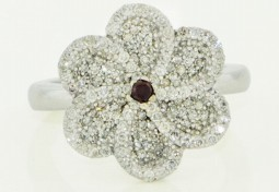 The Flower Ring- A 0.05 Round Shaped Brownish-Reddish-Orangey Diamond Set In 14K White Gold Ring