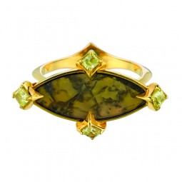 2.10 Mq. Slice Yellow Diamond with 5-0.48 Lime Radiant Diamonds.