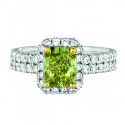 A 1.75ct Cushion Shaped Fancy Deep Greenish-Yellow VS2 Diamond Set In 18K White Gold Ring