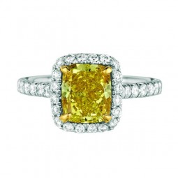 A 2.05ct Cushion Shaped Fancy Vivid Yellow, SI1 Diamond Set In A Platinum Ring