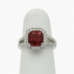 A 3.36ct Cushion Cut Ruby Set In 18K White Gold Ring