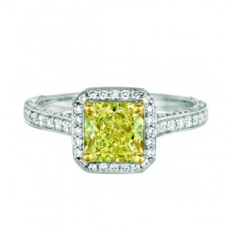 A 1.53ct Radiant Shaped Fancy Yellow, VS1 Diamond Set in 18K White Gold Ring