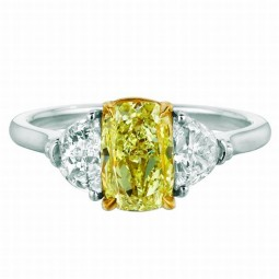 A 1.51ct Cushion Shaped Fancy Light Yellow Diamond Set