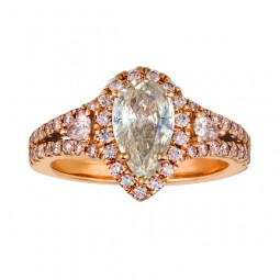 A 1.08ct Pear Shaped Fancy Light Gray Diamond Set In 18K Rose Gold Ring
