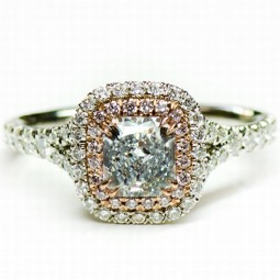 A 0.87ct Radiant Shaped Fancy Light Blue Diamond Set In A Platinum Ring