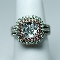 A 2.36ct Cuhion Fancy Light Greenish Blue Diamond Fishtail Ring. Set with 36=.38ct Pink Melee Diamond & 108=0.99ct White Melee Diamond. Made in 18KR & Plat. 10.75GR. Size 6.50