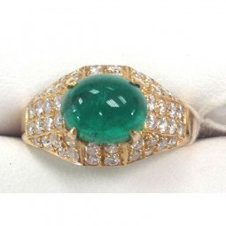 Antqiue Oval Cabachon Colombian Emerald Ring