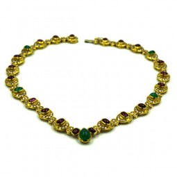 Necklace-25-27.47 Ruby & Emerald Cabochon & 246-7.38 Round Diamonds.