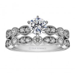 Rm1292 -14k White Gold Round Cut Diamond Infinity Engagement Ring
