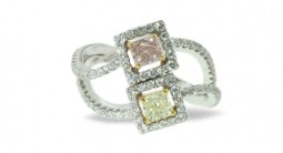Gorgeous Multicolor Three Stone Diamond Ring