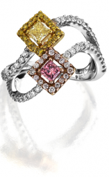 3 Mix Color Diamond Cocktail Ring with 0.10cts of pink diamond melee, 0.13cts of yellow diamond melee and 0.47cts of white diamond melee. Made in platinum.