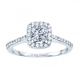 Rm1301p-14k White Gold Princess Cut Halo Diamond Engagement Ring