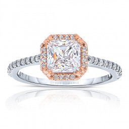 Rm1309ptt-14k Rose Gold Princess Cut Halo Diamond Engagement Ring
