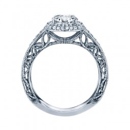Rm1434r -14k White Gold Round Cut Double Halo Diamond Vintage Engagement Ring