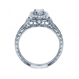 Rm1435-14k White Gold Vintage Engagement Ring