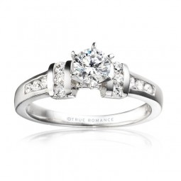 Rm402-14k White Gold Engagement Ring From Nostalgic Collection