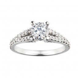 Rm966-14k White Gold Engagement Ring From Nostalgic Collection
